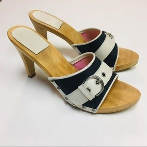 Coach | Wooden Buckle Sandal Slides Navy White 10